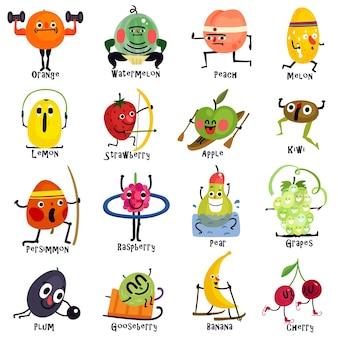 Set cartoon pictogrammen grappige vruchten tijdens verschillende sporttrainingen, waaronder sumo boogschieten joggen
