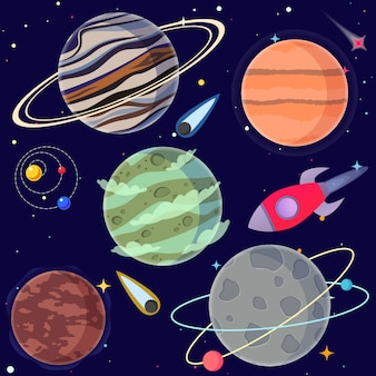 Set cartoon planeten en elementen van de ruimte.