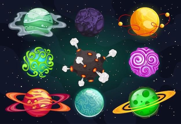 Set cartoon planeten. kleurrijke set geïsoleerde objecten. kosmische elementen voor game-design, vuur, sneeuw, mechanisch, kristallen. fantasie planeten