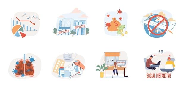 Set cartoon platte illustraties toont de wereldwijde impact van het coronavirus