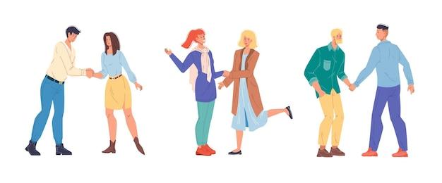 Set cartoon platte karakters vrienden handen schudden