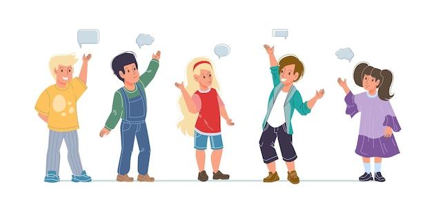 Set cartoon platte kinderen tekens gelukkige groeten met tekstballonnen - verschillende poses, sociaal communicatieconcept