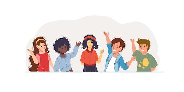 Set cartoon platte kinderen tekens gelukkige groeten - verschillende poses, sociale communicatie en vriendschap concept