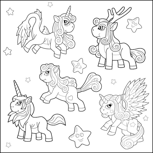 Set cartoon pony's