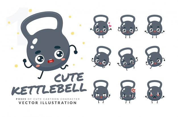 Set cartoon poses van kettlebell.