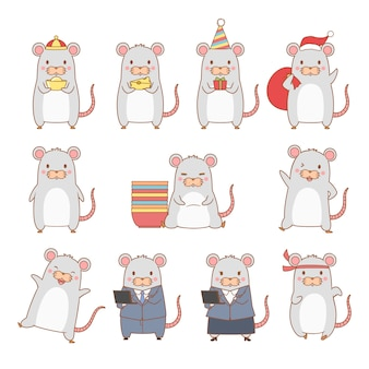 Set cartoon rat in verschillende poses. jaar van de rat.