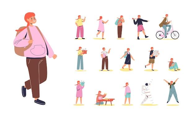 Set cartoon rood haar meisje schoolmeisje met rugzak in verschillende levensstijl situaties en poses
