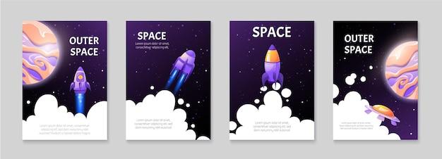 Set cartoon ruimte achtergronden met raketten en shuttles in spelstijl.