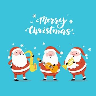 Set cartoon santa claus in verschillende poses met muziekinstrument voor kerst banner, wenskaart illustratie. santa karakterverzameling.