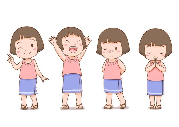 Set cartoon schattig meisje in thaise folk jurk in verschillende poses.