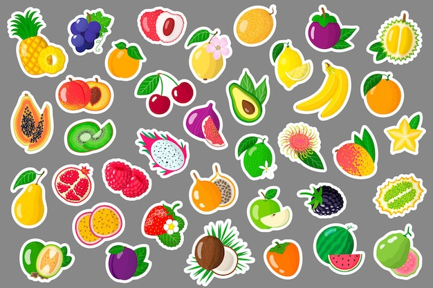 Set cartoon stickers met exotische zomervruchten en bessen.