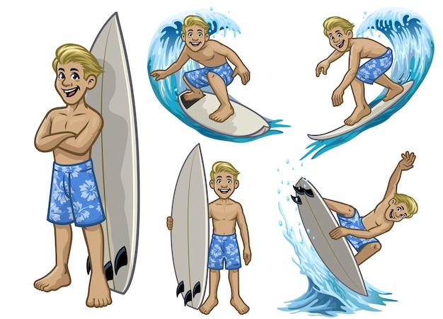 Set cartoon surfer blanke jongen