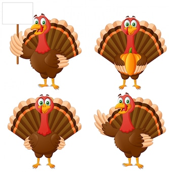 Set cartoon thanksgiving turkije vogel mascotte karakter