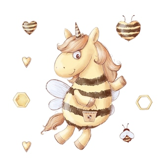 Set cartoon unicorn bee honing snoep. aquarel illustratie.