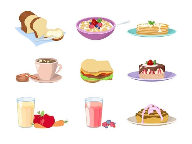 Set cartoon voedsel ontbijt. café of thuisvoedselmenu voor traditioneel ochtendontbijtpictogram dat op wit wordt geïsoleerd