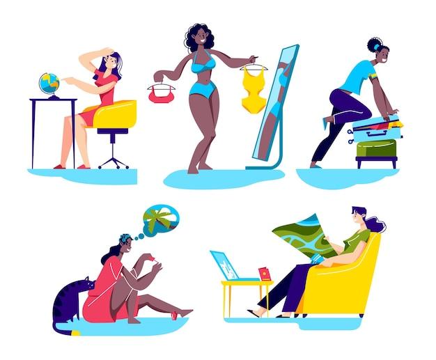 Set cartoon vrouwen reis of vakantie voorbereiden reisbestemming en verpakking kiezen Premium Vector