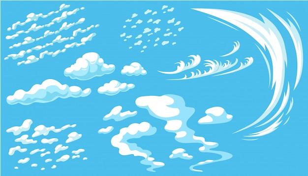 Set cartoon wolken in blauwe panoramahemel.