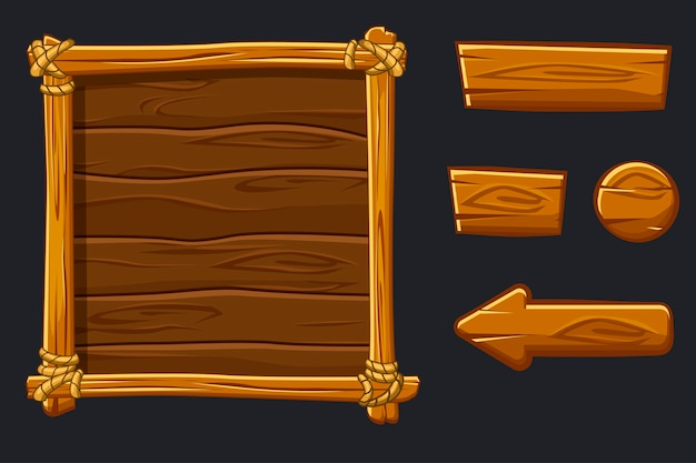Set cartoon wood assets, interface en knoppen voor ui game