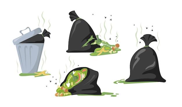 Set cartoon zwarte zakken en afvalcontainers met afval en vuilnis. vlakke afbeelding