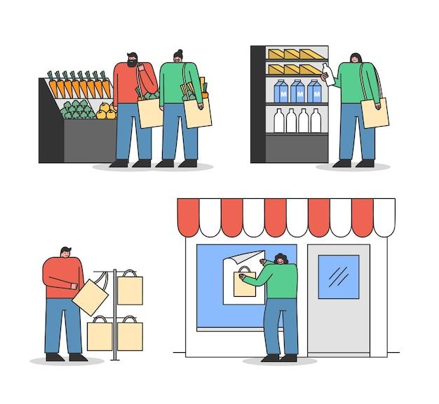 Set cartoonkopers met milieuvriendelijke tassen. mensen kopen boodschappen en gebruiken hergebruikte handtassen in de supermarkt