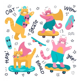 Set cat skateboarders en verschillende skateboards. vlakke afbeelding geïsoleerd op een witte achtergrond met doodle decor en belettering