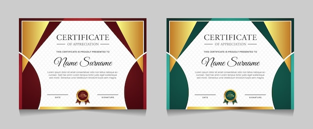 Set certificaatsjabloonontwerp met gouden luxe moderne vormen