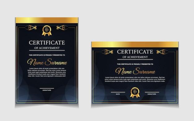 Set certificaatsjabloonontwerp met marineblauw en luxe moderne vormen