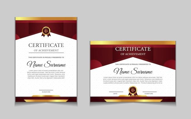 Set certificaatsjabloonontwerp met rode en luxe moderne vormen