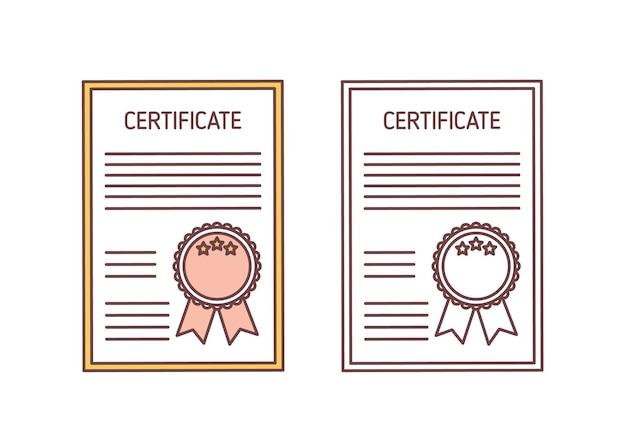 Set certificaten met zegel en lint geïsoleerd op wit