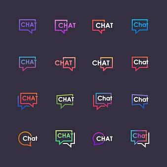 Set chat belettering met bubble logo. praten, spreken, logo sjabloon. chat logo sjabloon.