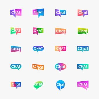 Set chat belettering met bubble logo. praten, spreken, logo sjabloon.