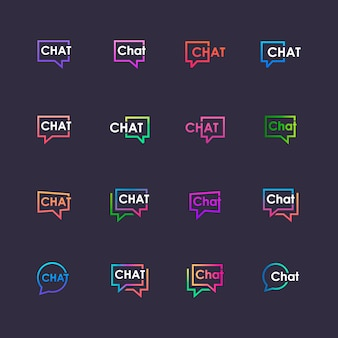 Set chat belettering met zeepbel. praten, spreken, logo sjabloon. chat logo sjabloon.