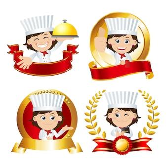 Set chef-kok tekens in verschillende poses