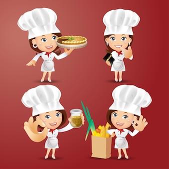 Set chef-personages in verschillende poses