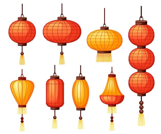 Set chinese lantaarns in verschillende vorm