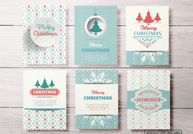 Set christmas wenskaarten lay-outs