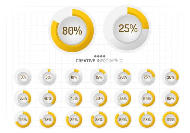 Set cirkel percentage diagrammen voor infographics.
