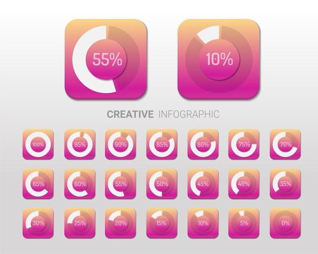 Set cirkel percentage diagrammen voor infographics.
