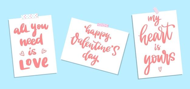 Set citaten belettering voor valentijnsdag