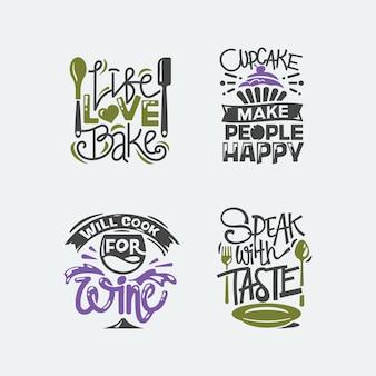 Set citaten illustratie over koken en keuken