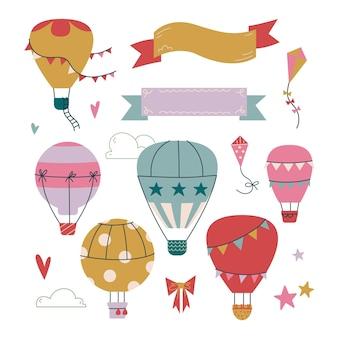 Set cliparts hete luchtballon in de lucht met wolken. vectorafdruk voor kinderen. lint voor tekstsjabloon. vliegen in de lucht is schattig. de vlieger is roze. kinderen kunst clipart geïsoleerd. peuter baby print