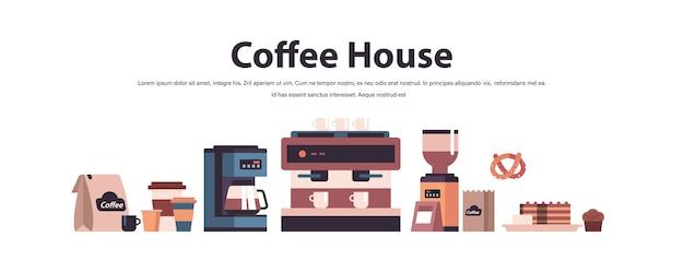Set coffeeshop gereedschappen en accessoires koffiehuis concept geïsoleerde horizontale kopie ruimte vectorillustratie