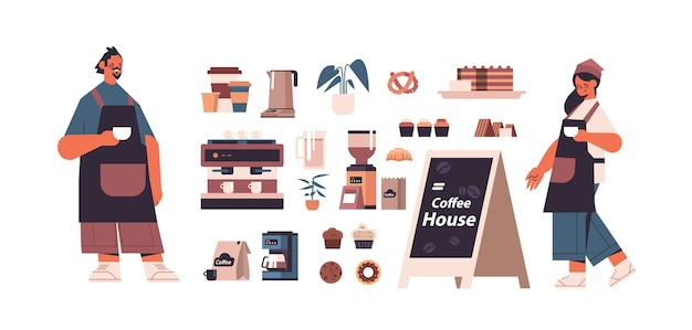 Set coffeeshop tools en accessoires met man vrouw barista in uniforme geïsoleerde horizontale vectorillustratie