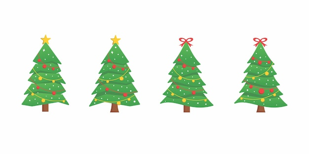 Set collectie boom kerst platte ontwerp bundel logo pictogram