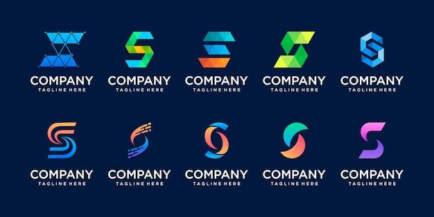 Set collectie eerste letter s logo sjabloon.