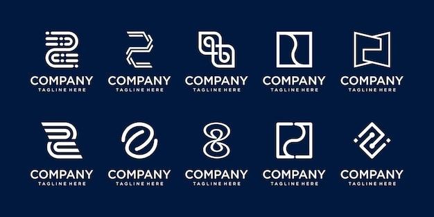 Set collectie eerste letter z logo sjabloon iconen voor zaken van mode digitale technologie