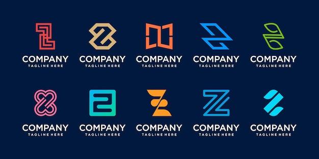 Set collectie eerste letter z logo sjabloon.