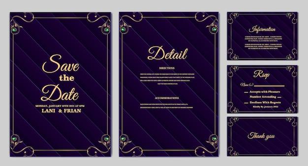Set collectie elegant bewaar de datum bruiloft uitnodigingskaart
