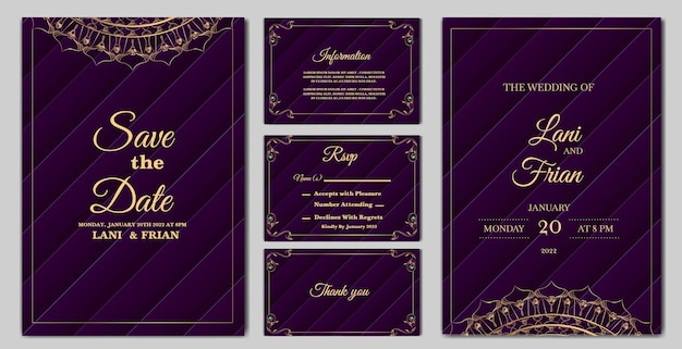 Set collectie elegante bruiloft uitnodiging kaartsjabloon