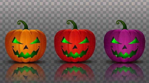 Set collectie halloween pompoenen 3d-object illustratie Premium Vector